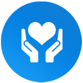 Icône représentant deux mains tenant un cœur
